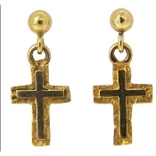 Vibrant 14kt Yellow Gold Cross of Jesus Christ.