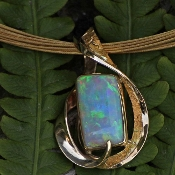 Opal and Gold Nugget Pendant,Opal and Alaskan Gold Nugget Pendant, Boulder Opal and Diamond Pendant, opal and gold nugget jewelry