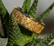 Natural Alaskan Gold Nugget Wedding Band in 14Kt yellow gold.