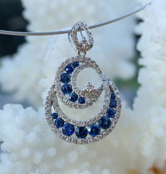 Sapphire and Diamond Pendant in 14kt white gold