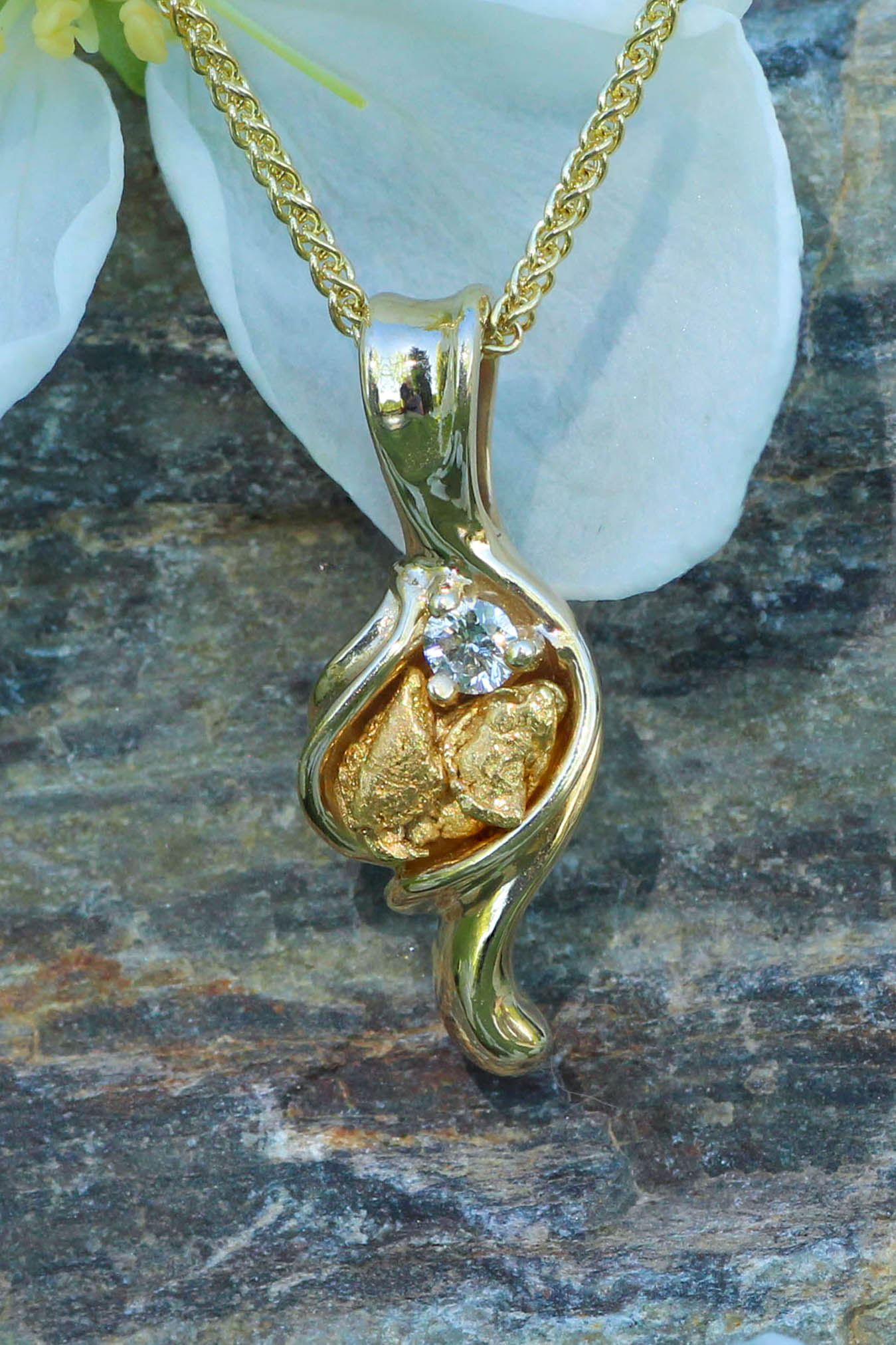 Natural Alaskan Gold Nugget Pendant Yellow Gold