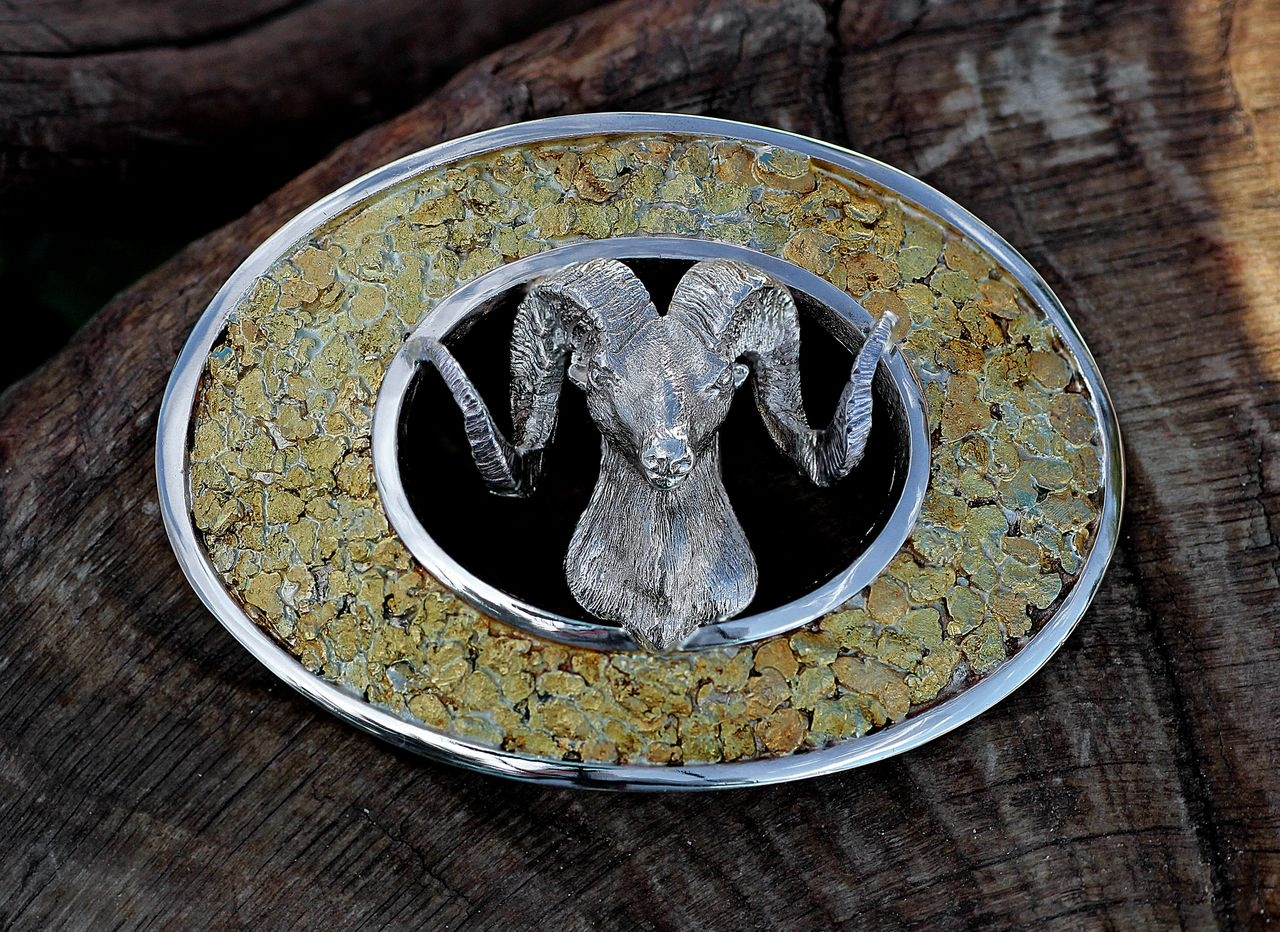 Custom Wild Alaska Gold Nugget Sterling Silver Sheep Head Belt Buckle