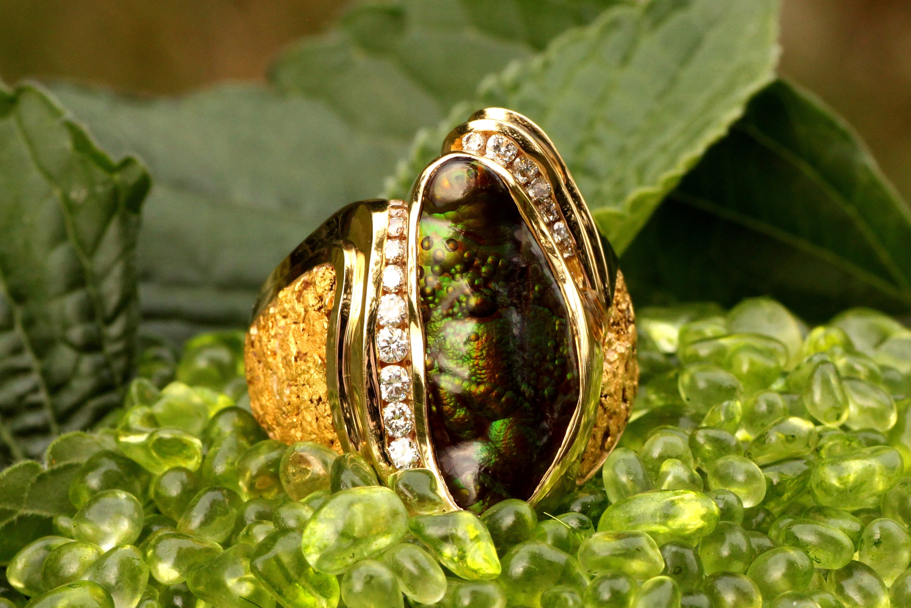 Alaskan Gold Nugget and Diamond Fire Agate Ring in 18Kt Yellow Gold.