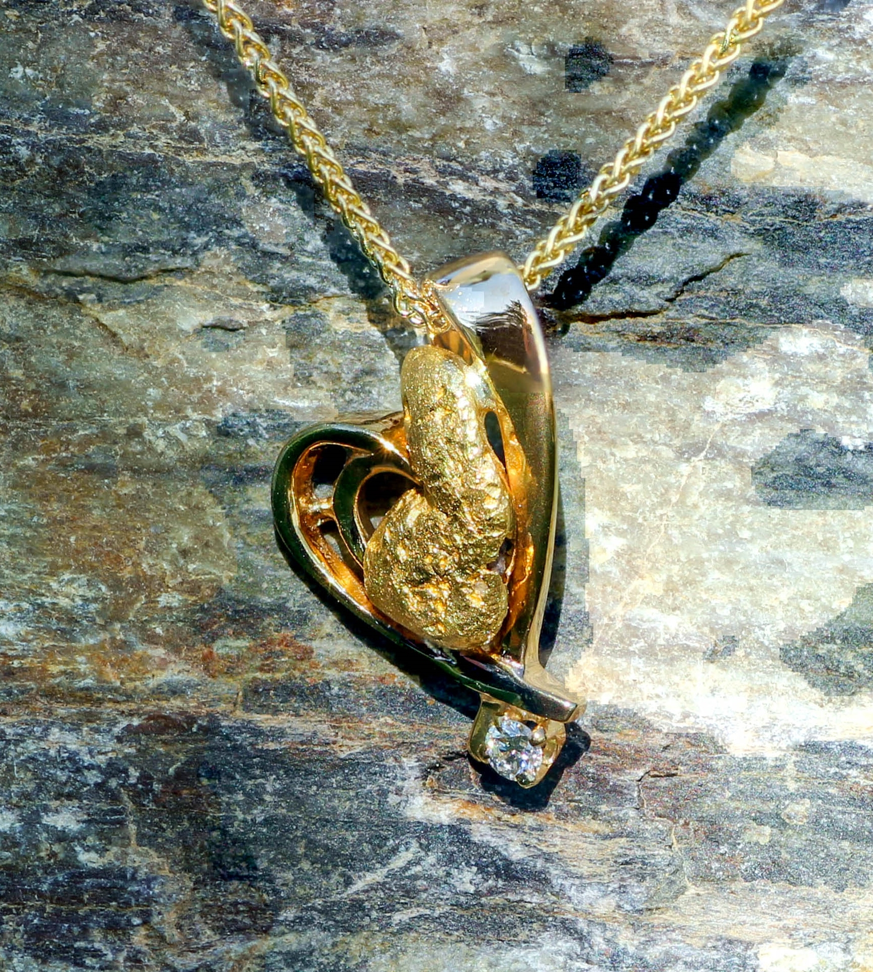Beautiful Alaskan Gold Nugget and Diamond in 14kt Gold Heart Pendant