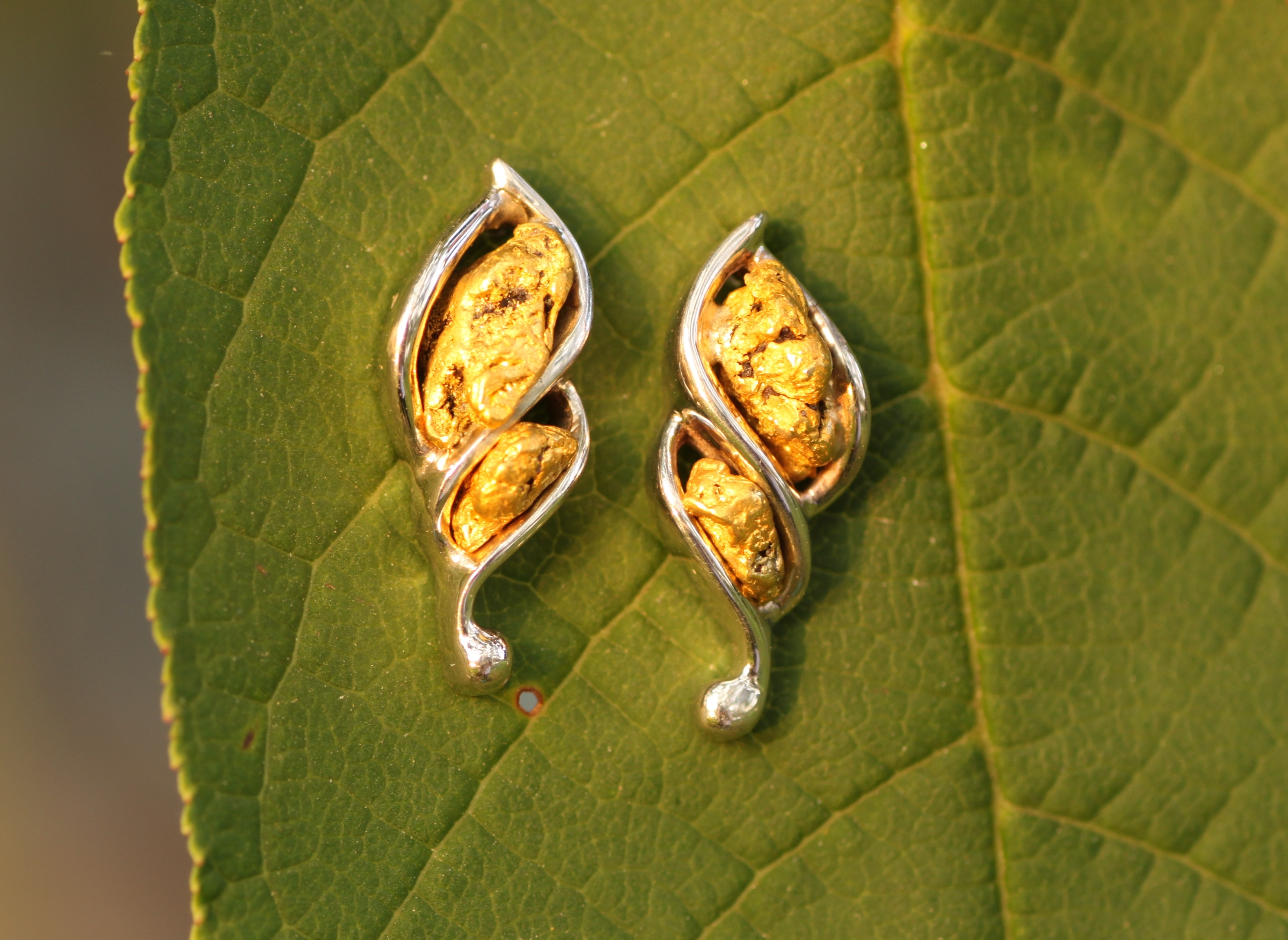 Alaskan Gold Nugget Twist Earrings in White Gold