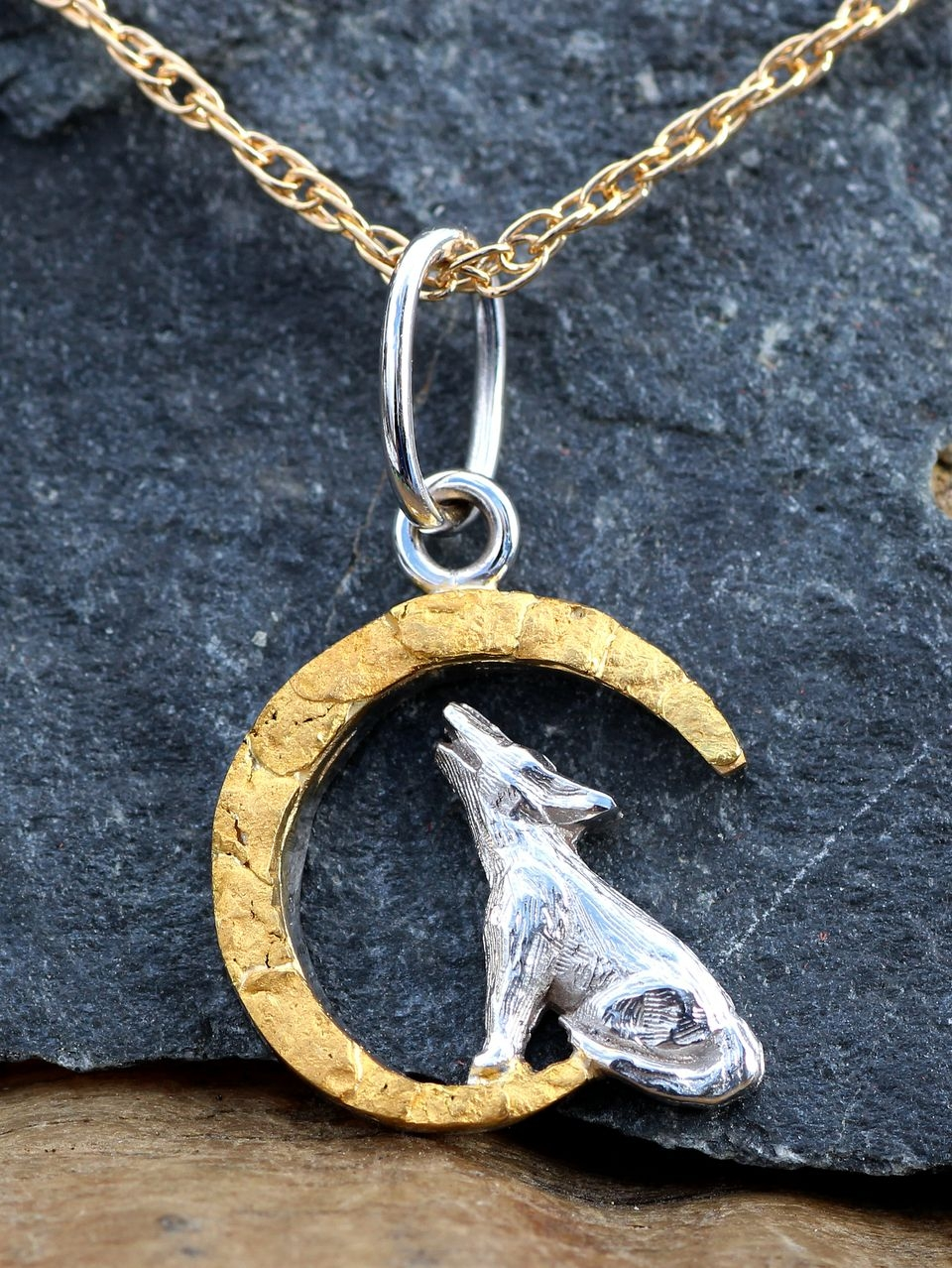 Wild Alaska Howling Wolf Pendant Crafted in 14kt White Gold with Natural Alaskan Gold Nuggets