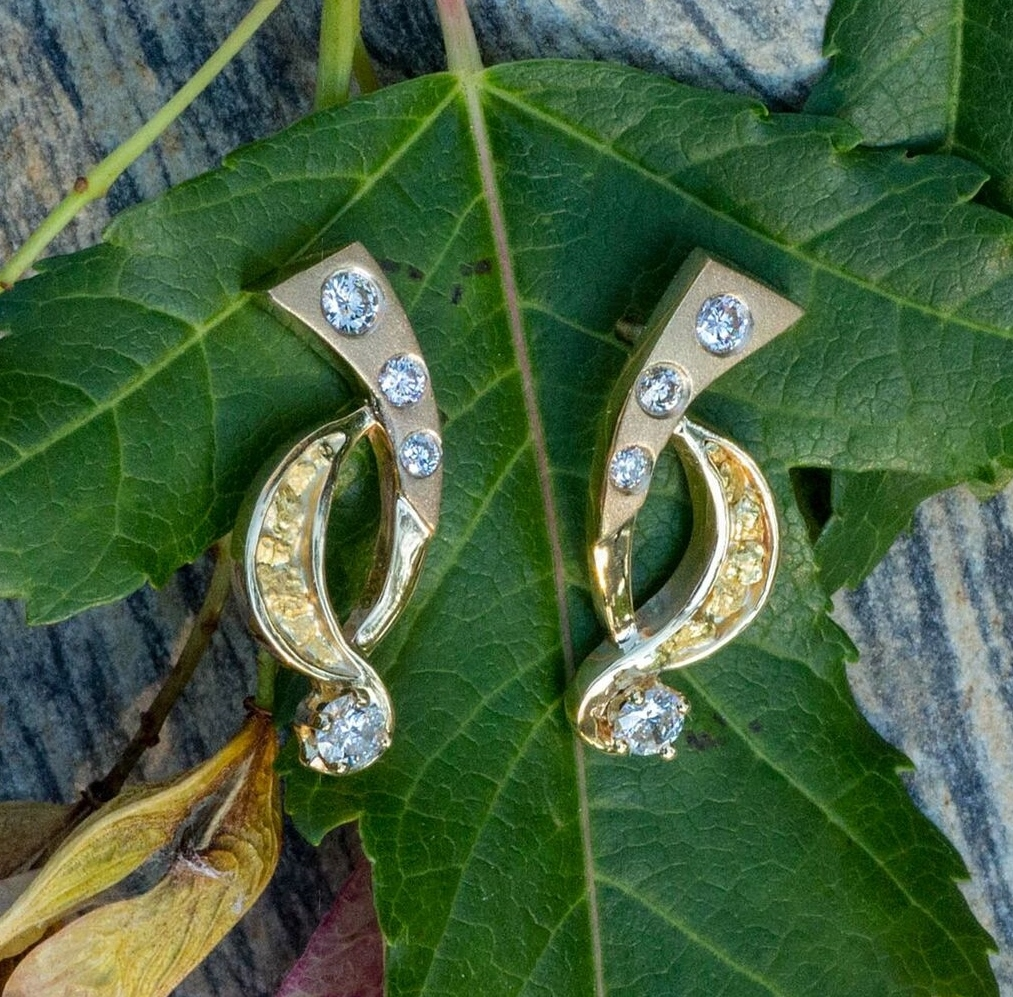 Alaskan Gold Nugget and Diamond Earrings in 14kt Yellow Gold