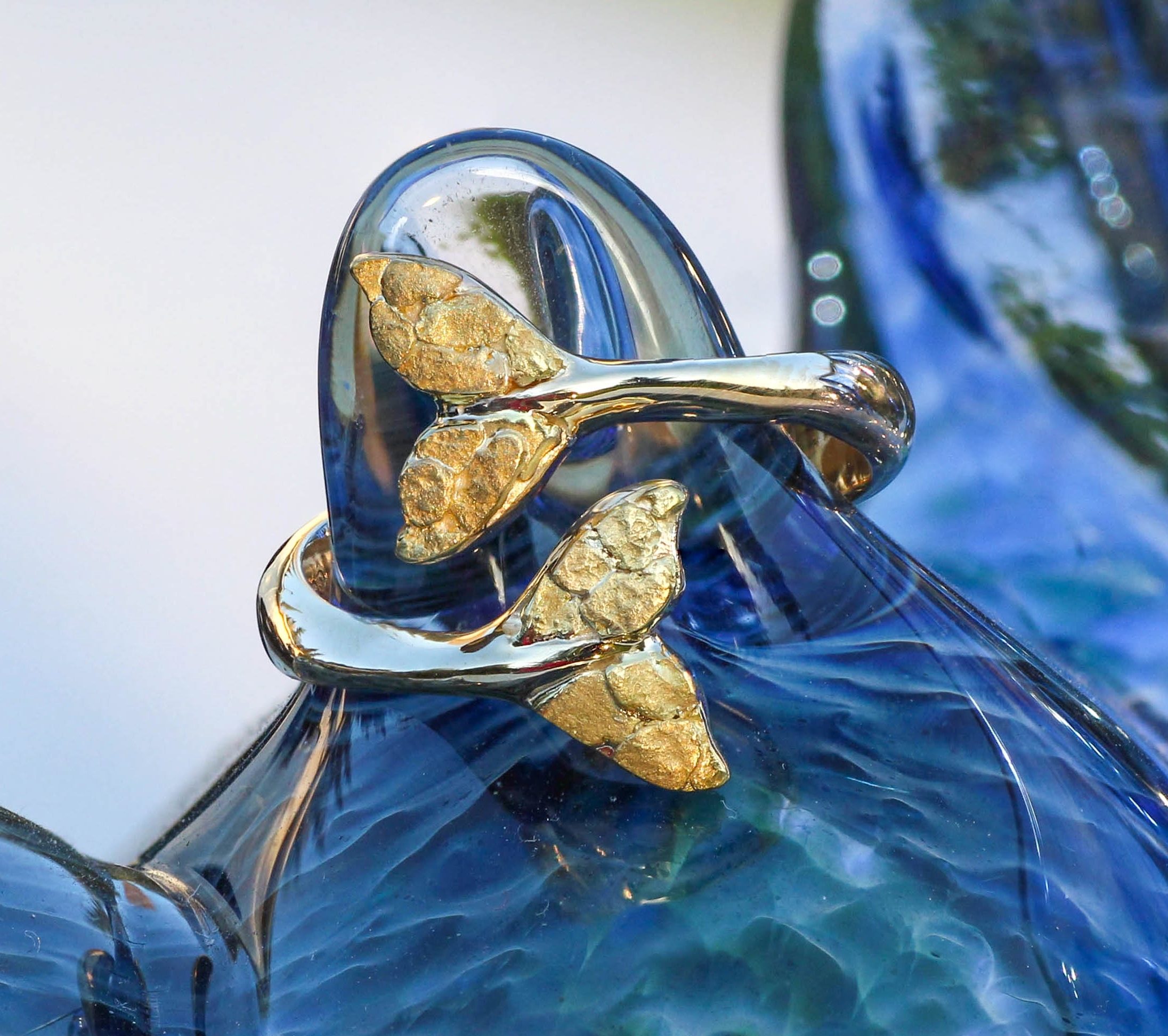 Wild Alaska Custom Whale Tail Ring in 14kt Yellow Gold