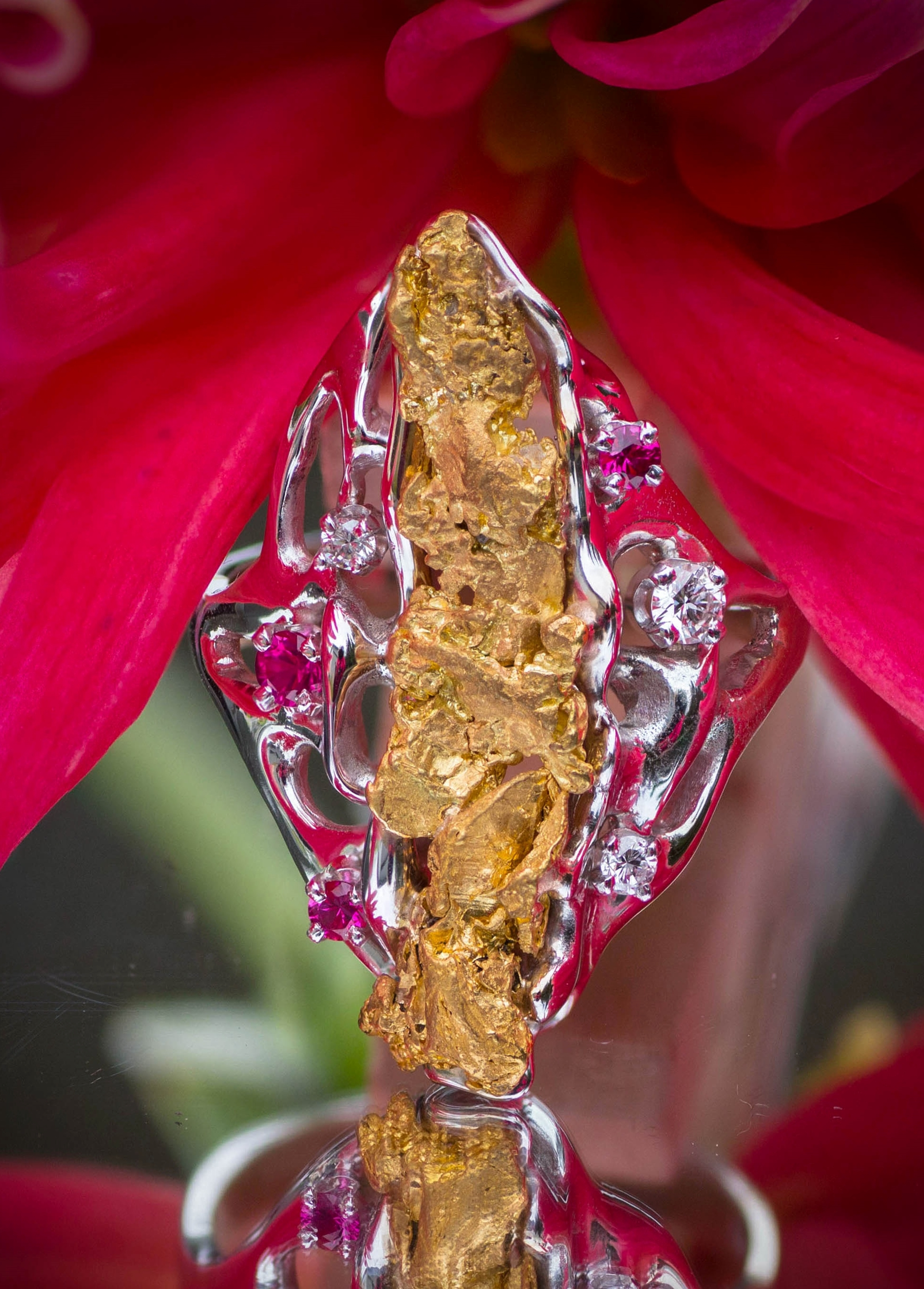 Alaskan Gold Nuggets with Rubies and Diamonds in White Gold Ring.