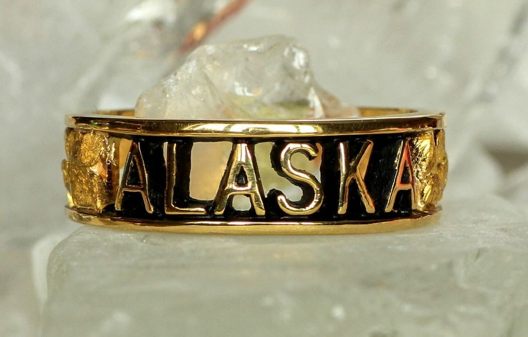 Alaskan Gold Nugget engraved Alaska Ring in Yellow Gold