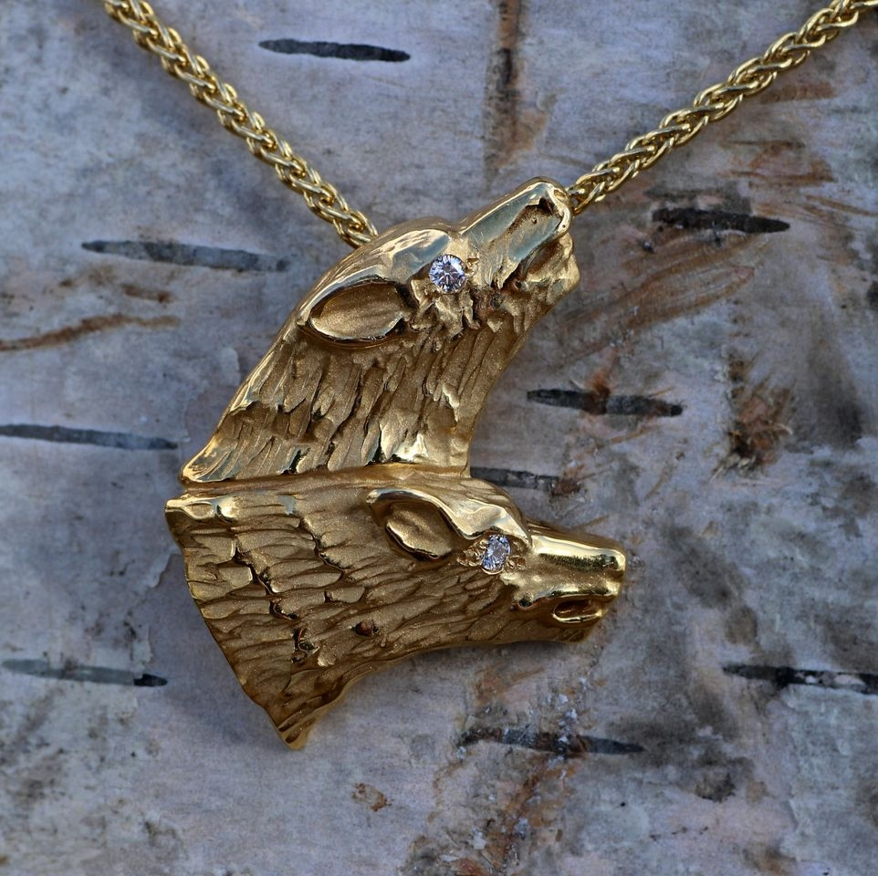 Wild Alaska Wolf Crafted in 14kt Yellow Gold Pendant