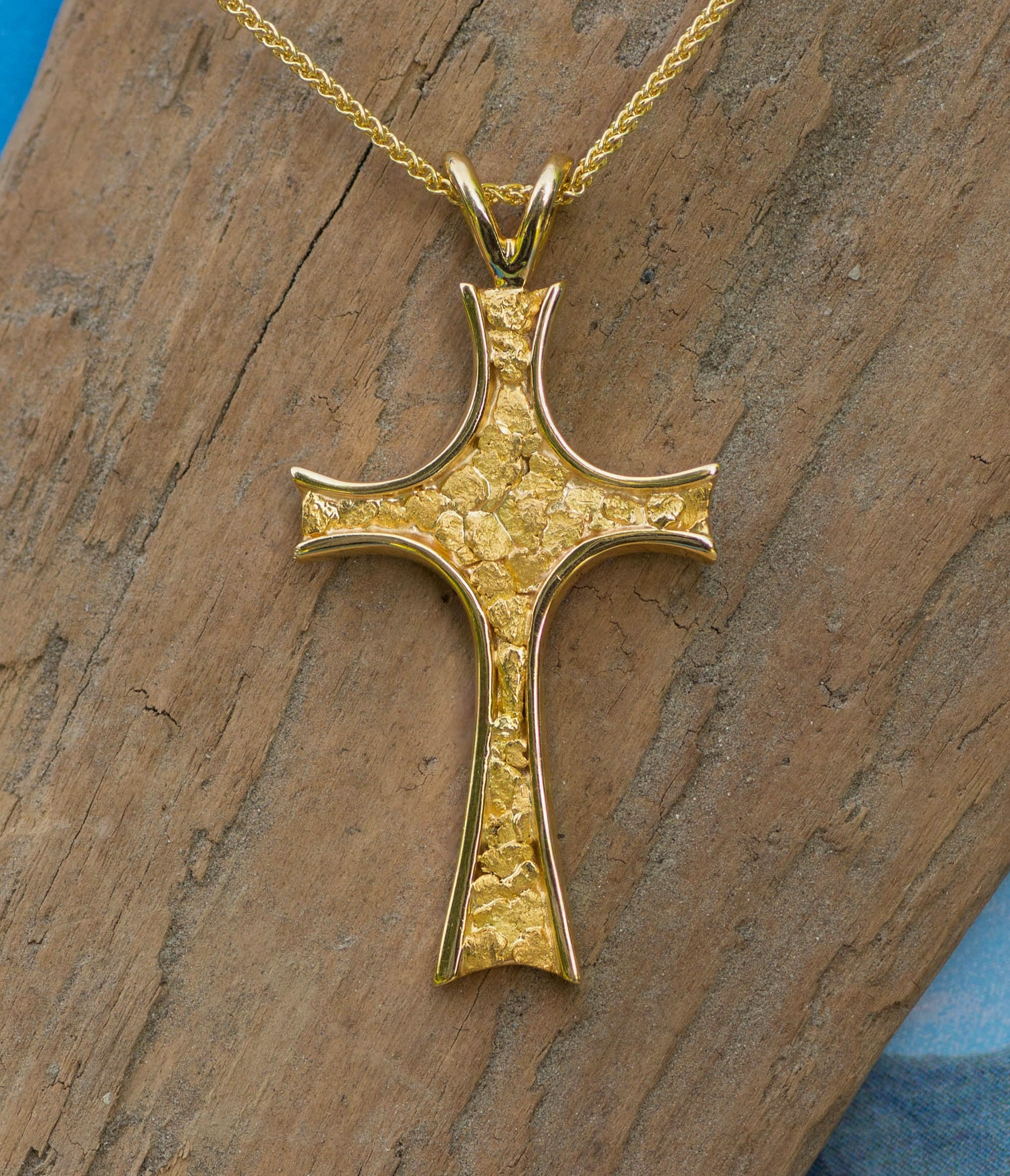 Alaskan Gold Nuggets in 14kt Yellow Gold Cross pendant