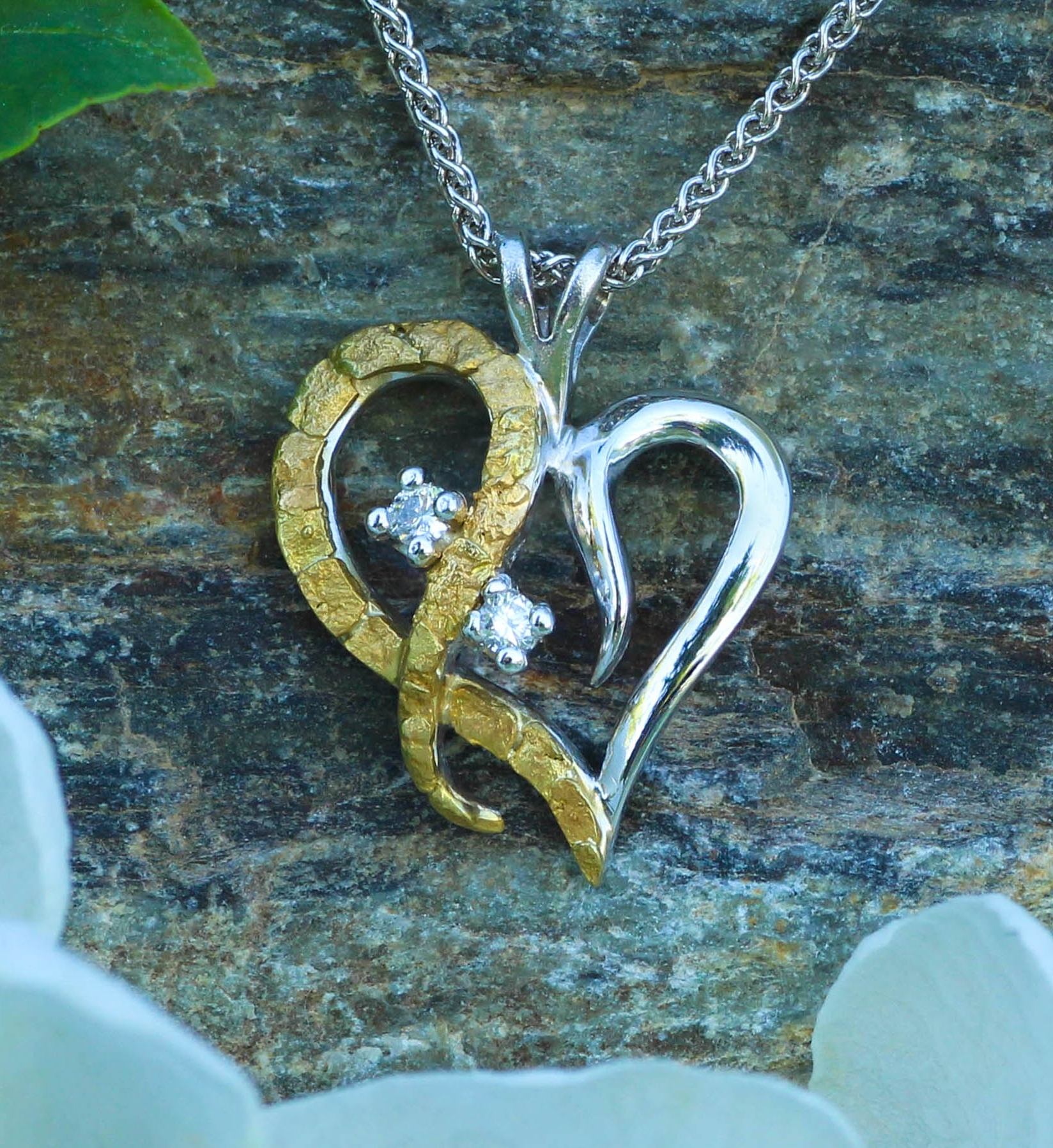 Alaskan Gold Nuggets and Diamond Heart Pendant
