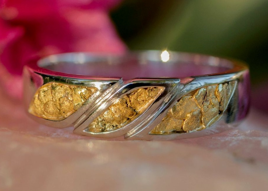 Alaskan Gold Nugget wedding band.