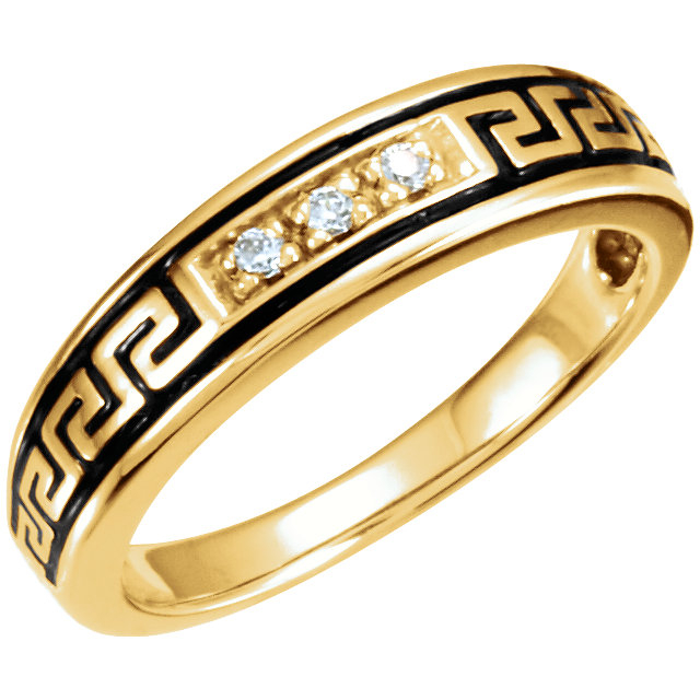 Native American Style Wedding Ring Set Band in Yellow Gold