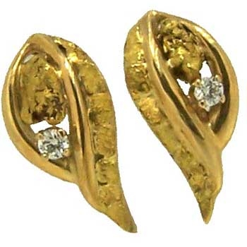 Alaskan Gold Nugget and Diamond Loop of Gold Nugget Earrings