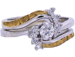 Custom Alaskan Gold Nuggets Diamonds in 14kt White Gold wedding ring set.