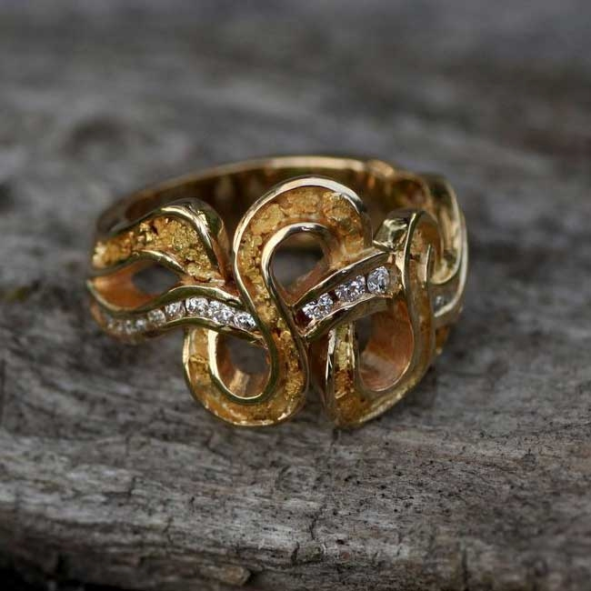 Alaskan Gold Nuggets and Diamonds in White Gold Rings, Gold Nugget Jewelry