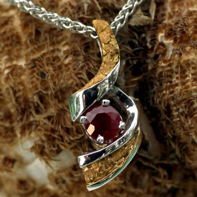 Alaskan Gold Nugget and Gemstone Pendant, Alaskan Gold Nugget and Gemstone Jewelry, Alaskan Gold Nugget Gemstone Jewelry