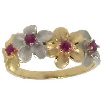 Forget Me Not Ruby Ring in two tone Gold