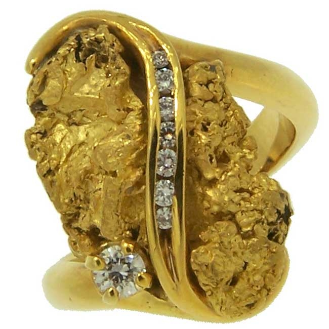 Custom Alaskan Gold Nugget and Diamond Party Ring