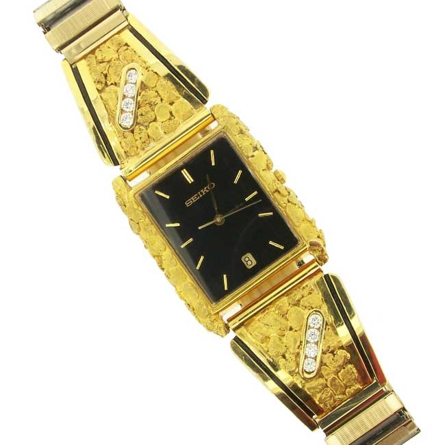 Custom Alaskan Gold Nugget Diamond SEIKO Watch