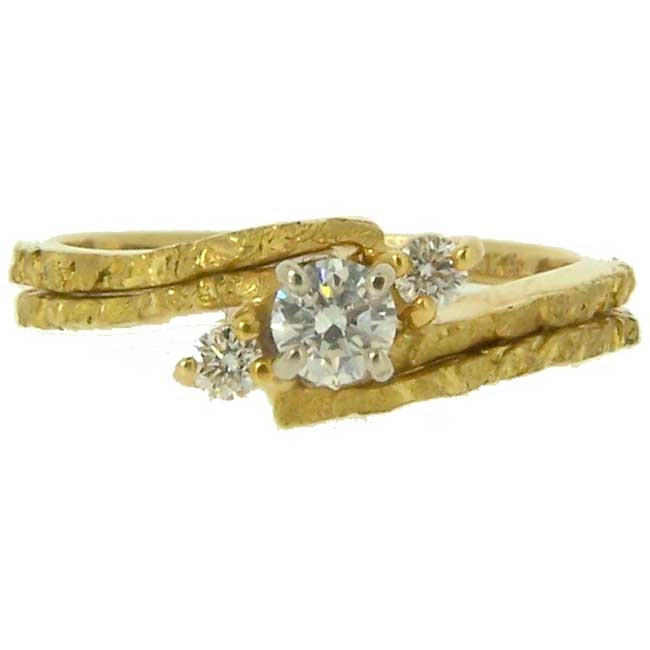 Alaskan Gold Nugget Diamond Engagement Wedding Ring Set in Yellow Gold