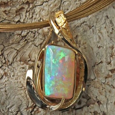 Opal and alaskan gold nugget pendant alaskan gold nugget jewelry mozeypictures Gallery
