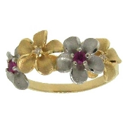 Diamond and Ruby Forget Me Not Ring