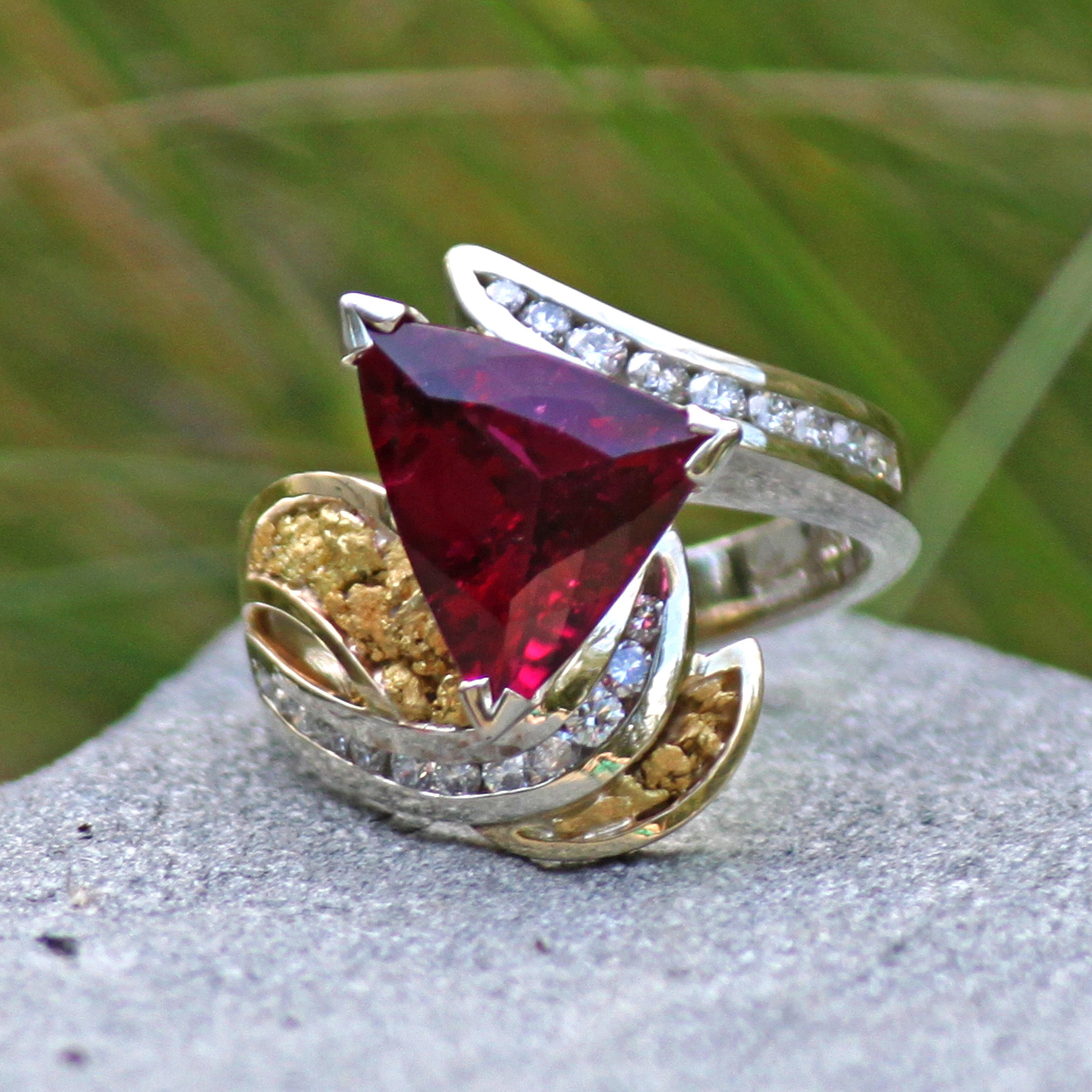 Exotic Rubilite Diamonds and Alaskan Gold Nuggets in 18kt two tone Gold Ring