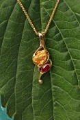 Custom Alaskan Gold Nugget Ruby 14kt Gold Pendant