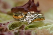 Alaska Gold Nuggets and Marquise Diamond Wedding Set in White Gold