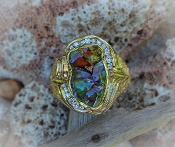 Fire Agate, Alaskan Gold Nuggets and Diamonds in Yellow Gold Ring, Gold Nugget Jewelry