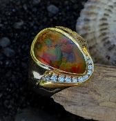 Fire Agate, Alaskan Gold Nuggets and Diamonds in Yellow Gold Ring.