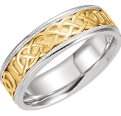 Celtic Knot Weave Wedding Ring Matching Set Two Tone Gold Filigree