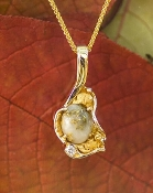 Gold Quartz Diamond Alaskan Gold Nugget Pendant in Yellow Gold