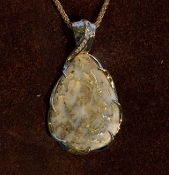 Custom Gold Quartz and Diamonds Pendant