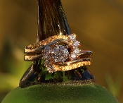 Alaskan Gold Nuggets and Diamonds in 14kt Yellow Gold wedding ring set.
