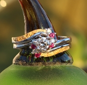 Rubies Diamonds Gold Nuggets Wedding Ring Set and engagement Ring