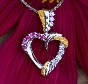 Alaskan Gold Nuggets, Diamonds.and Rubies in 14kt Gold Heart Pendant