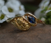 Alaskan Gold Nugget and Blue Sapphire Party Twist Ring