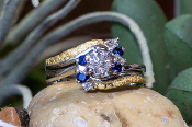 Sapphires Diamonds Gold Nuggets Wedding Ring Set and engagement Ring