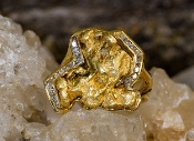 Custom Alaskan Gold Nugget and Diamonds in 14kt Yellow Gold.
