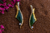 Jade, Alaskan Gold Nuggets and Diamonds in Yellow Gold Earrings.