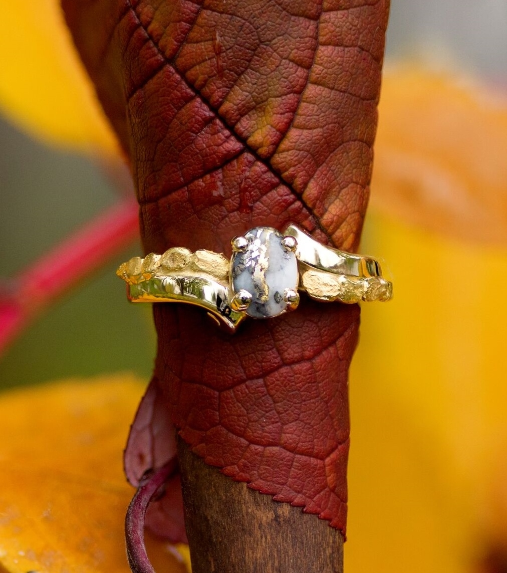 Gold Quartz Alaskan Gold Nugget Ring in Yellow Gold
