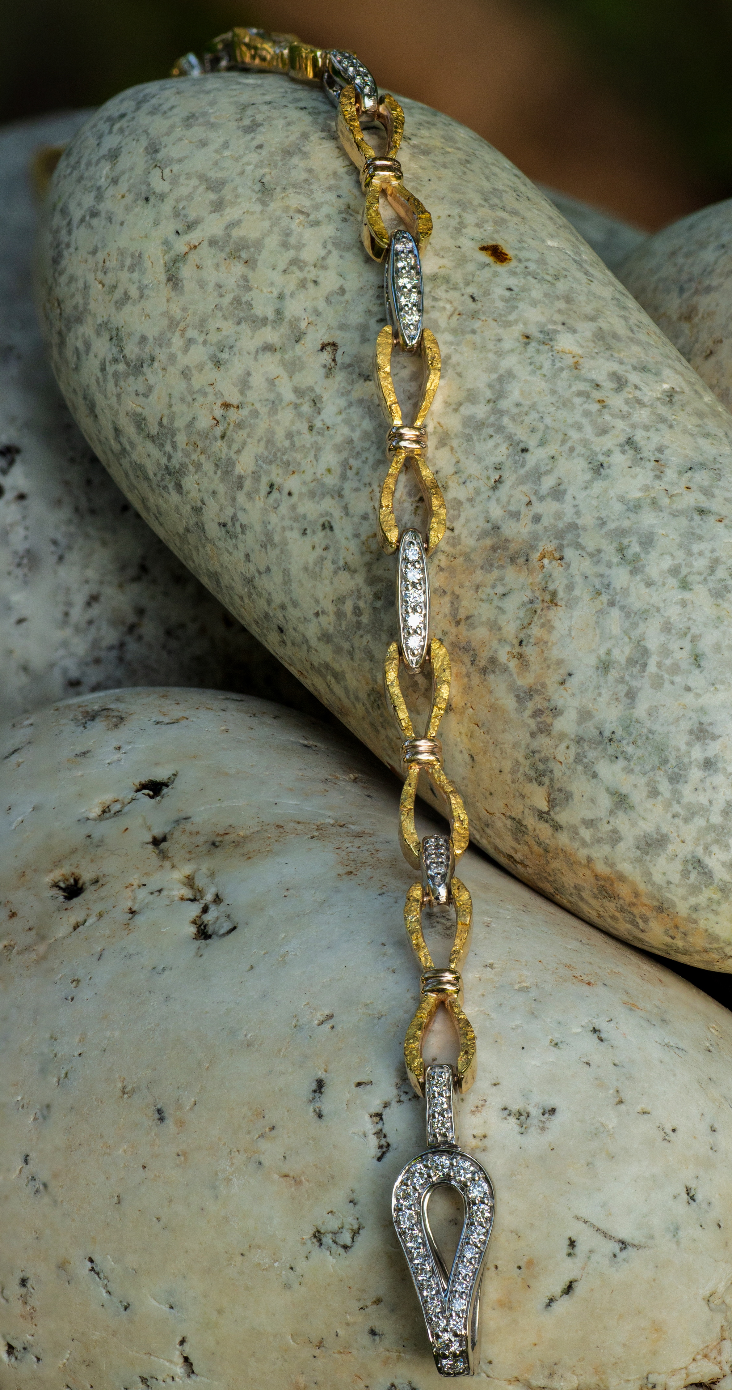 Alaskan Gold Nugget and Diamond Bracelet in White Gold.