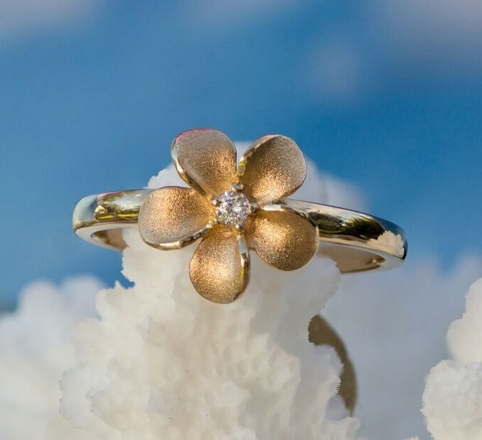 Forget Me Not Flower Diamond Ring in Yellow Gold