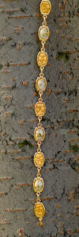 Alaskan Gold Nugget and Gold Quartz Bracelet