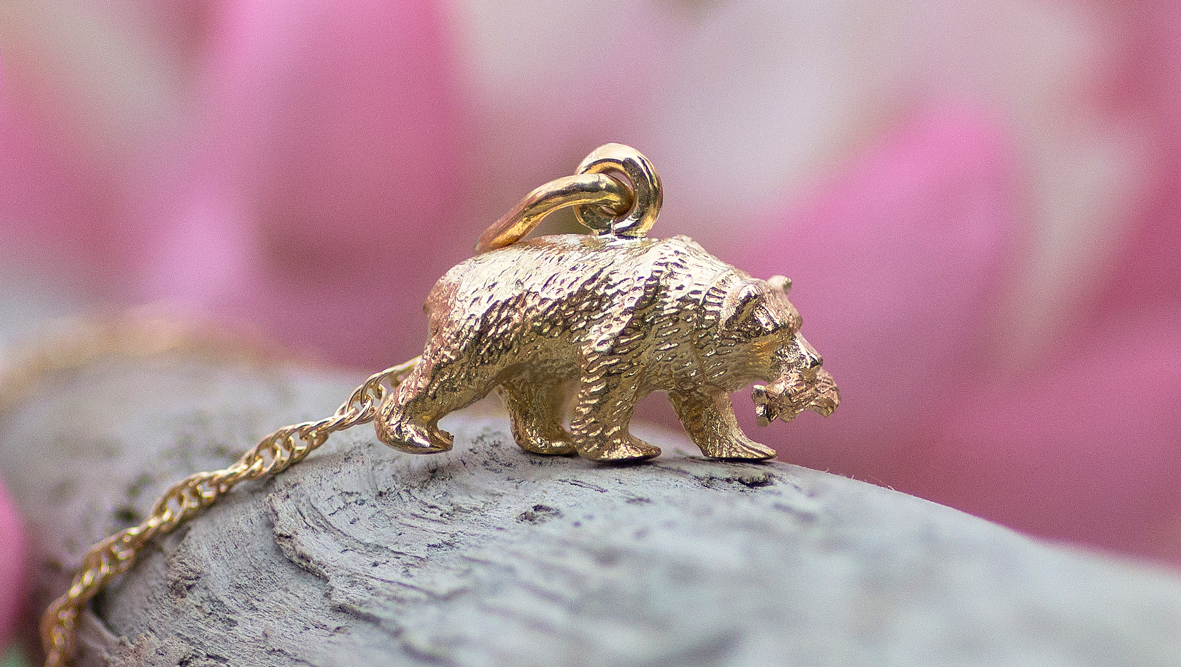 Alaskan Bear Hand Crafted in 14kt Yellow Gold.