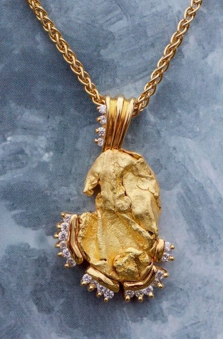 Womens custom alaskan gold nugget and diamond pendant aloadofball